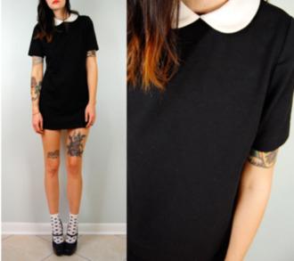 dress black dress collared dress peter pan collar mod dress