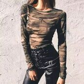 top,shanghai trends,camo top,camouflage top,women,aw17,camouflage