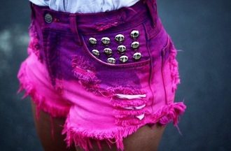 shorts studs pink purple