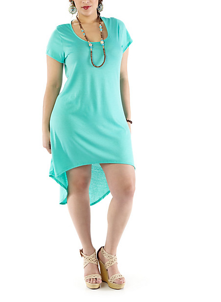 Plus-Size High-Low T-Shirt Dress - Rainbow