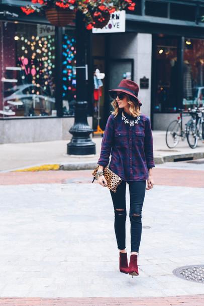 prosecco and plaid blogger jeans sunglasses bag t-shirt jewels felt hat flannel shirt