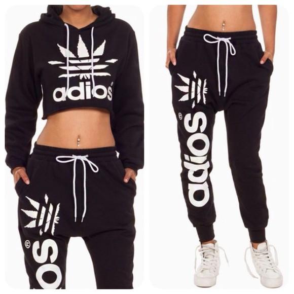 adidas pants sweater black top fashion sweatpants