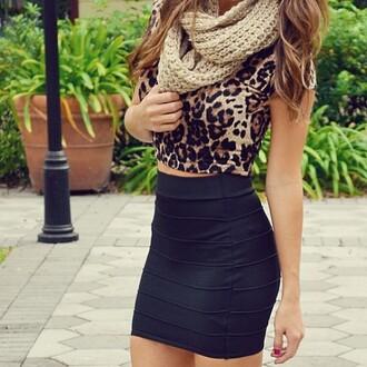 shirt leopard print skirt blouse scarf animal print scarf accessories