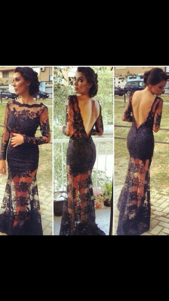 ball gown dress backless mesh dress lace white black dress prom dress black lace dress lace dress pretty open back dresses long open back dress black long dresses long dress bridesmaid