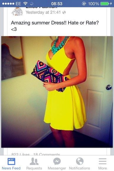 yellow dress yellow dress skater dress bag pretty cute yellow summer dress backless dress instagram