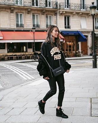top black sweatshirt pants black pants leather pants leather black sneakers sweatshirt high top sneakers sneakers