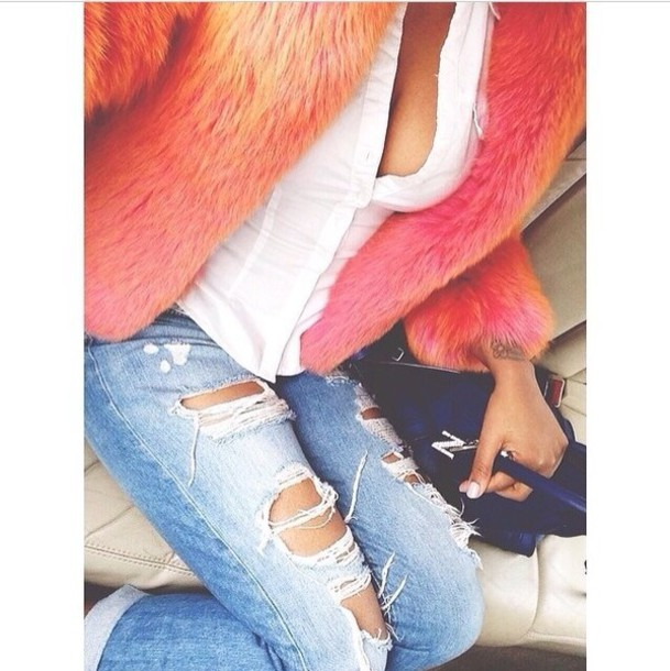 jacket coat orange fur coat pink fluffy