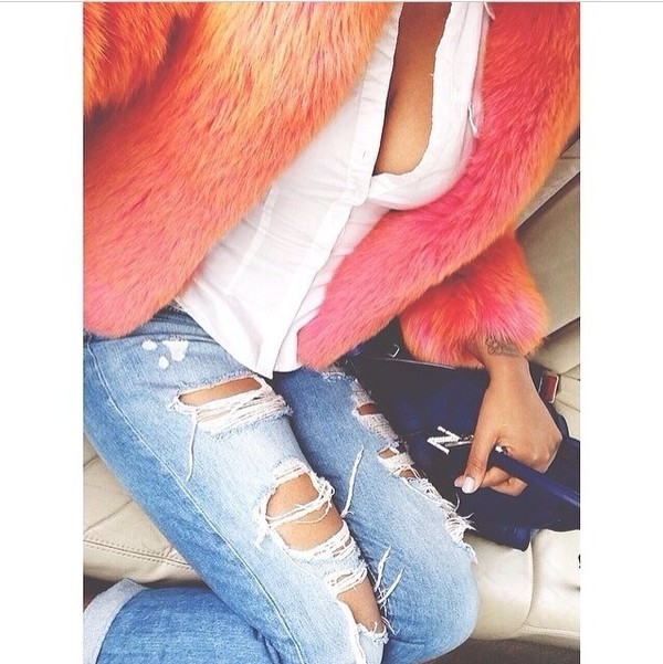 jacket coat orange fur coat pink fluffy