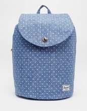 bag,denim,polka dots,spring,backpack,denim backpack,herschel supply co.