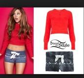 blouse,crop tops,shorts,ariana grande navy knit  christmas,shirt,red,ariana grande,long sleeves
