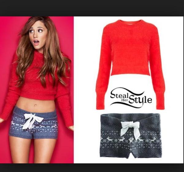 blouse crop tops shorts ariana grande navy knit  christmas shirt red ariana grande long sleeves