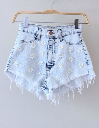 shorts short denim daisy floral summer flowers high high waisted acid wash denim shorts grey hot pants high waisted shorts flowered shorts ripped style