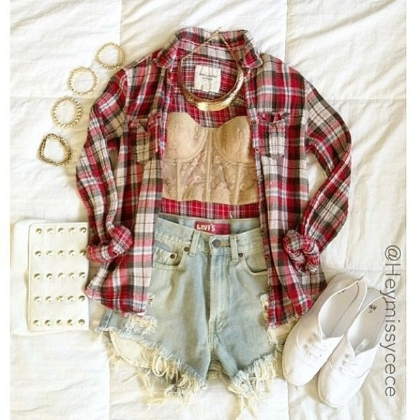 shirt red plaid shirt button down button up black white cut off shorts underwear jewels shorts