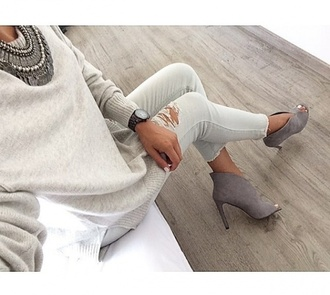 shoes grey heels wedges classy pants jeans white blouse tank top crop tops sweater shirt necklace watch bracelets jewelry nails hair ring grunge vintage trendy fashion