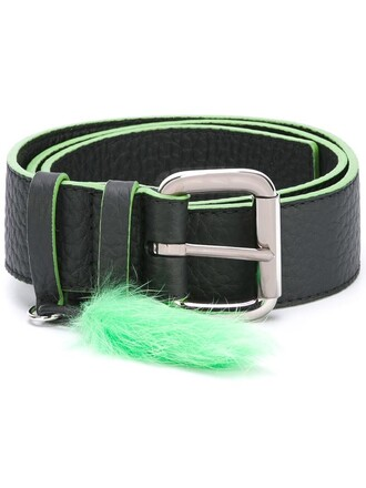 fur women belt leather black