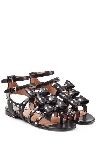 bows embellished sandals leather sandals leather black shoes