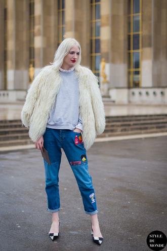 jeans embroidered jeans blue jeans top grey top coat fur coat white coat pointed toe flats streetstyle white fur coat embroidered sweatshirt fall outfits