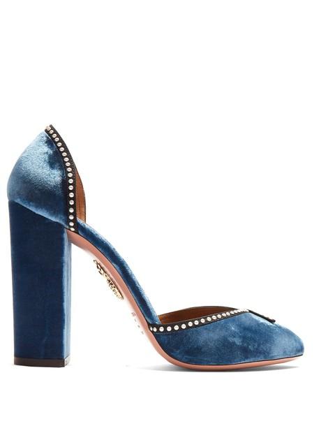 Aquazzura heel embellished pumps velvet blue shoes