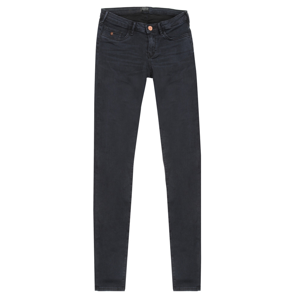 Womens Dark Blue Voyage Mid Rise Skinny Jeans