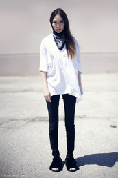 stop it right now,blouse,scarf,jeans,shoes,furry shoes,black pants,slide shoes,black shoes,white top,black and white