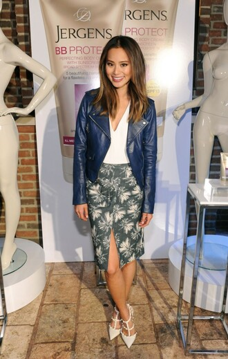 skirt slit skirt jamie chung jacket blogger pumps biker jacket spring skirt