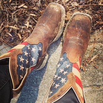 shoes american flag brown leather boots stars and stripes cowboy boots