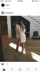 dress,white dress,mini dress,long sleeves,kylie jenner,sandals,wrap dress,instagram,kardashians,silk,white,kimono,kimono style,mini,shoes,high heel sandals,nude heels,strappy heels,celebrity style