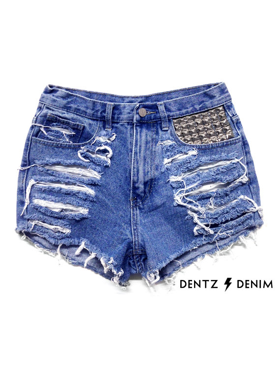 High Waisted Denim Shorts  Front Pocket Stud by DentzDenim on Etsy