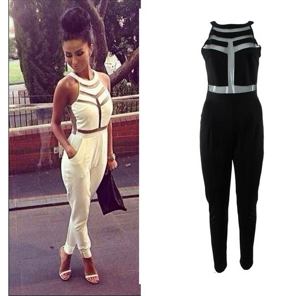 2015 fashion net yarn splicing halter jumpsuit sexy women bandage romper milenka mesh panel jumpsuit ls339