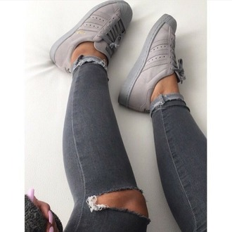shoes jeans ripped jeans grey