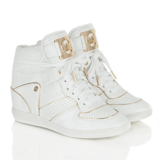 shoes michael kors wedge sneakers gold white cool. Black Bedroom Furniture Sets. Home Design Ideas