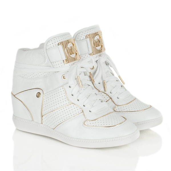 michael kors wedge sneakers gold white cool white sneakers