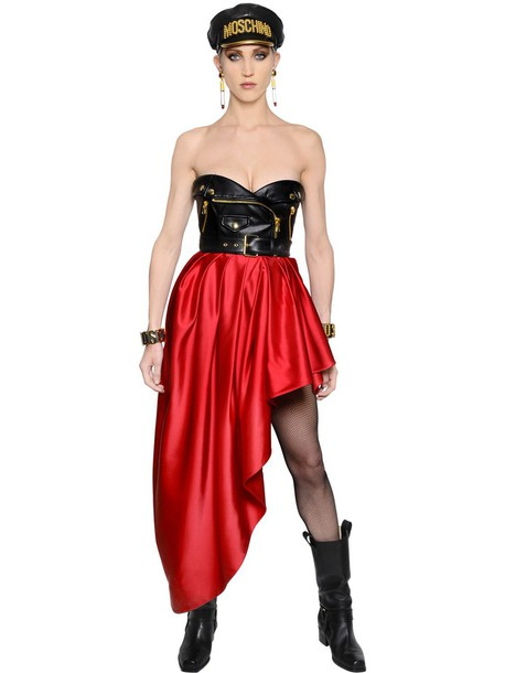MOSCHINO Biker Faux Leather & Satin Bustier Dress in black / red