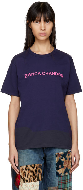 Bianca Chandon t-shirt shirt t-shirt navy top
