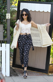 jacket,cute,fashion,shirt,celebrity,style,cardigan,top,white lace crop top,vanessa hudgens,lace