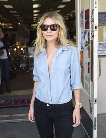 ashley olsen shirt blouse sunglasses