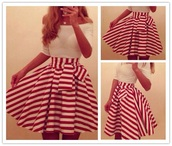 skirt,red skirt,white skirt,cute skirt,dress,off the shoulder,stripes,red and white,red and white stripe a line dress