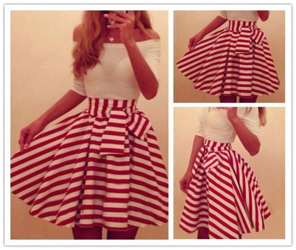 skirt red skirt white skirt cute skirt dress off the shoulder stripes red and white red and white stripe a line dress