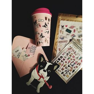 home accessory yeah bunny pink pastel tumbler coffee dog cute frenchie