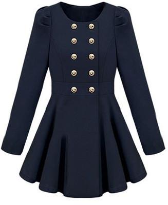 Breasted skirt hem design blue trench