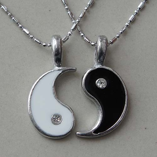 Split Yin Yang Friendship Best Friend Lover Memorable Love Silver Pewter Pendant-in Chain Necklaces from Jewelry on Aliexpress.com