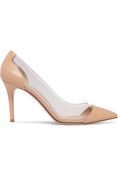 Gianvito Rossi - Plexi 85 Leather And Pvc Pumps - Neutral