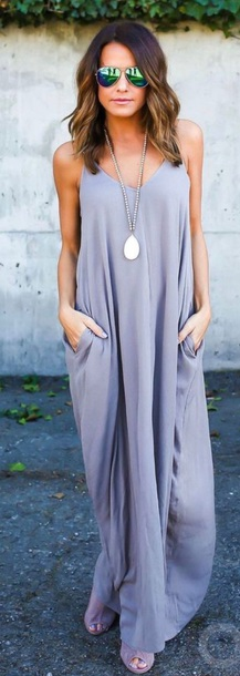 dress grey maxi dress straps pockets