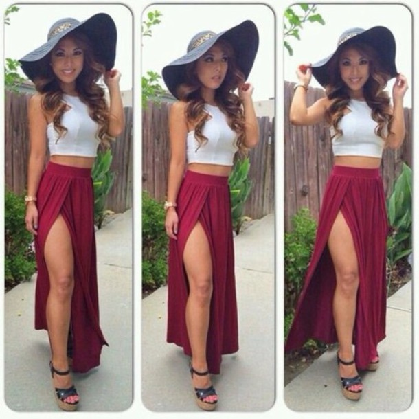 hat tank top skirt shoes top underwear red skirt with a white top slit maxi skirt white top burgundy skirt