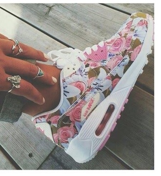 shoes floral floral sneakers low top sneakers air max nike shoes sneakers white nikes cute flora nikes
