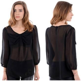 shirt black black shirt bow