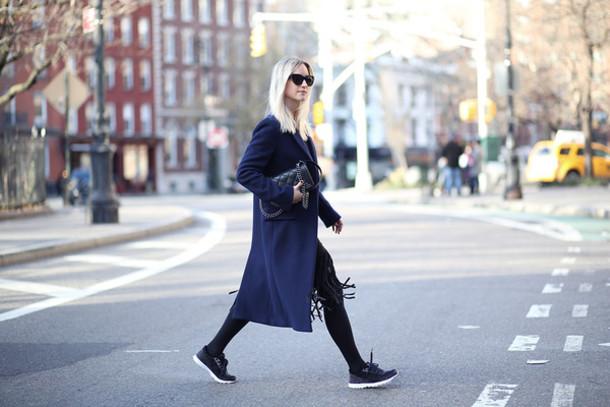 the fashion guitar blogger bag navy long coat winter coat coat skirt top tights sunglasses blue long coat