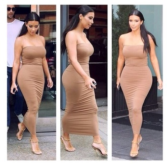 nude bodycon strapless kim kardashian dress evening dress sexy dress nude dress tube dress kim kardashian dress bodycon dress beige dress kim kardashian nude dress bandage dress midi dress all nude everything heels brown accessories clothes gown taupe  kim kardashian calf length