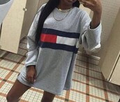 sweater,blue,tommy hilfiger,grey,red,black,sweatshirt,dress,tommy hilfiger dress,vue boutique,tommy girl,off the shoulder dress,red white blue