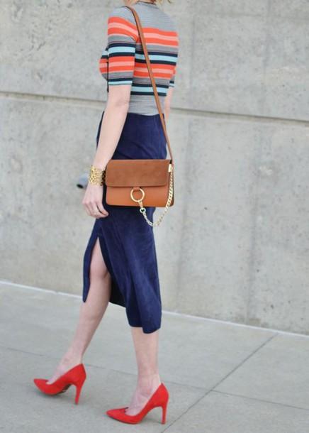 skirt chloe faye bag chloe bag brown bag blue suede skirt blue skirt midi skirt plaid skirt suede skirt pumps orange top striped skirt